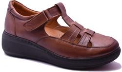 ISPARTALILAR - Ayakkabiburada 1421 Ortopedi Hakiki Deri Kadın Günlük Sandalet