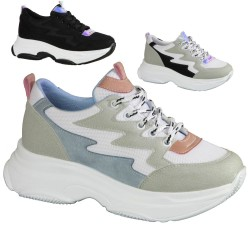 ISPARTALILAR - Ayakkabiburada Yüksek Taban Siyah VE Beyaz Bayan Spor Ayakkabı (36-40)