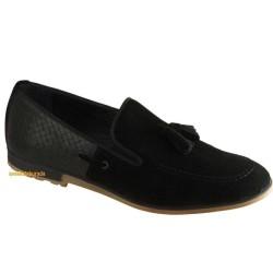ISPARTALILAR - Ayakkbiburada Hazır Taban Siyah-Mavi Erkek Deri Ayakkabı