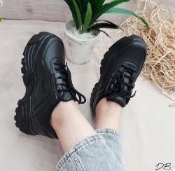 Diğer - Ayax 12432 Kalın Yüksek Taban Siyah Bayan Spor Ayakkabı (36-40)