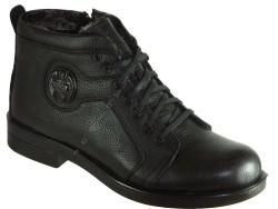 ISPARTALILAR - Boots 55 Rahat Taban Hakiki Deri Siyah Erkek Bot Ayakkabı