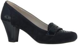 ISPARTALILAR - Capriss Rahat Nubuk Lacivert Bayan Kısa Topuklu Ayakkabı (36-40)