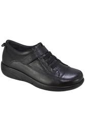 ISPARTALILAR - D.Carlotti 111 Siyah Hakiki Deri Cırtlı Kadın Ayakkabı (36-40)