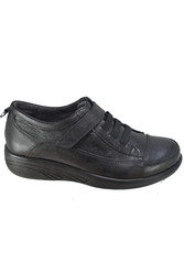D.Carlotti 111 Siyah Hakiki Deri Cırtlı Kadın Ayakkabı (36-40) - Thumbnail
