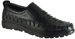 ISPARTALILAR - Dego Carlotti 184 Hakiki Deri Siyah Erkek Günlük Ayakkabı Sandalet