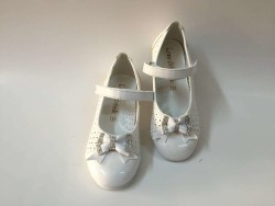 Emre Çocuk Delikli Beyaz Kız Cırtlı Okul Ayakkabı - Thumbnail