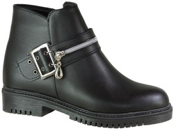 ISPARTALILAR - Enesse 51 Siyah Düz Taban Günlük Bayan Bot Ayakkabı (36-40)