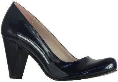 Ispa 11 Rugan Lacivert Bayan Kısa Topuklu Ayakkabı (36-40)