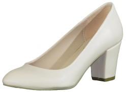 ISPARTALILAR - La Moor 101 Krem Kısa Topuk Bayan Topuklu Ayakkabı (36-40)