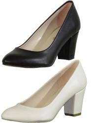 ISPARTALILAR - La Moor 101 Siyah Ve Krem Kısa Topuk Bayan Topuklu Ayakkabı (36-40)
