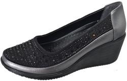 Mavişim 34 Dolgu Taban Siyah Kadın Günlük Ayakkabı (36-40) - Thumbnail