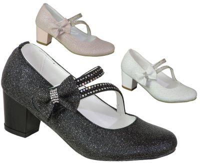 Mini Women Abiye Siyah Çocuk Kız Topuklu Ayakkabı (26-36)