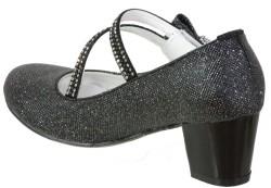 Mini Women Abiye Siyah Çocuk Kız Topuklu Ayakkabı (26-36) - Thumbnail