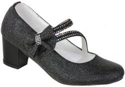 ISPARTALILAR - Mini Women Abiye Siyah Çocuk Kız Topuklu Ayakkabı (26-36)