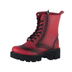 Pinokyo - Pinokyo 6023 Kırmızı Rahat Taban Kız Çocuk Bot Ayakkabı