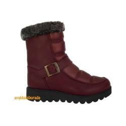 Pinokyo - Pinokyo Siyah Bordo Rahat Kışlık Çocuk Bot Bayan Bot Ayakkabı (26-38)