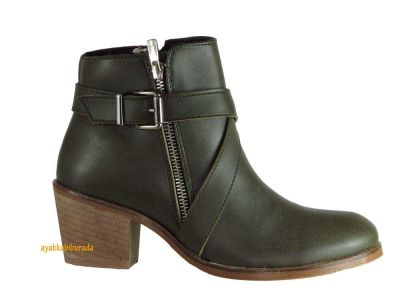 Riccardo Colli Spenco Rahat Kısa Haki Topuklu Bayan Bot Ayakkabı