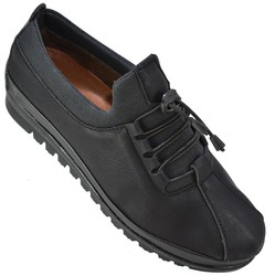 Selena 33 Ortopedik Deri Siyah Kadın Günlük Ayakkabı (36-40) - Thumbnail