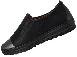 Selena 37 Ortopedik Deri Siyah Kadın Günlük Ayakkabı (36-40) - Thumbnail