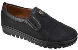 ISPARTALILAR - Selena 38 Ortopedik Deri Siyah Kadın Günlük Ayakkabı (36-40)