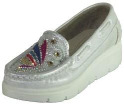 Su perisi Dolgu Taban Gümüş Kız Çocuk Babet Ayakkabı (31-36) - Thumbnail