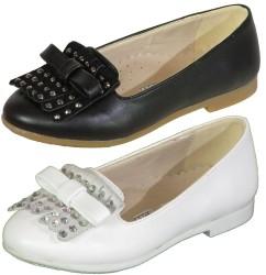 Vetta - Vetta Ortopedi Beyaz Siyah Kız Çocuk Babet Ayakkabı (26-36)