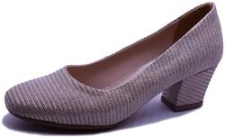 Witty - Witty 636 Rahat Kısa Taban Altın Topuklu Kadın Ayakkabı