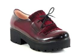 ISPARTALILAR - Witty 72 Bordo Deri Hazır Kaymaz Taban Bayan Günlük Ayakkabı
