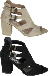 ISPARTALILAR - Witty 897 Rahat Bej VE Siyah Topuklu Ayakkabı Sandalet (36-40)