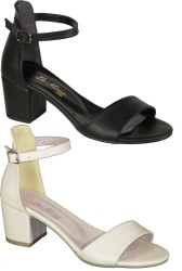 ISPARTALILAR - Witty 898 Siyah VE Bej Bayan Topuklu Ayakkabı Sandalet (36-40)