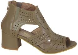 ISPARTALILAR - Witty 899 Rahat Siyah Bayan Topuklu Ayakkabı Sandalet (36-40)