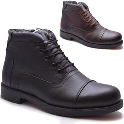 ISPARTALILAR - 9595 Ortopedi İÇİ KÜRKLÜ Hakiki Deri Erkek Bot Ayakkabı (40-44)