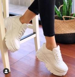 Diğer - Ayax 12432 Kalın Yüksek Taban Beyaz Bayan Spor Ayakkabı (36-40)